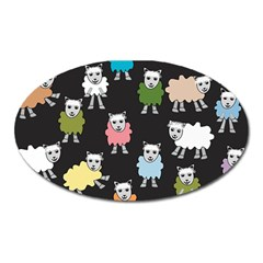 Sheep Cartoon Colorful Oval Magnet