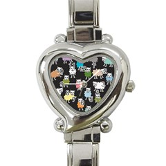 Sheep Cartoon Colorful Heart Italian Charm Watch