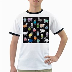 Sheep Cartoon Colorful Ringer T-Shirts
