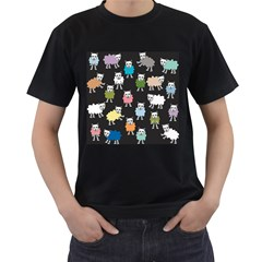Sheep Cartoon Colorful Men s T-Shirt (Black) (Two Sided)