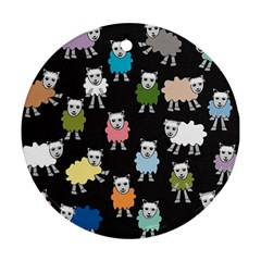 Sheep Cartoon Colorful Round Ornament (two Sides)