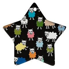 Sheep Cartoon Colorful Star Ornament (two Sides)