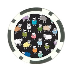 Sheep Cartoon Colorful Poker Chip Card Guard