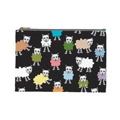 Sheep Cartoon Colorful Cosmetic Bag (large)
