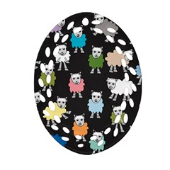 Sheep Cartoon Colorful Oval Filigree Ornament (Two Sides)