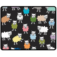 Sheep Cartoon Colorful Double Sided Fleece Blanket (medium)