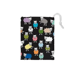 Sheep Cartoon Colorful Drawstring Pouches (small)