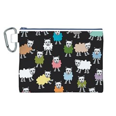 Sheep Cartoon Colorful Canvas Cosmetic Bag (l)
