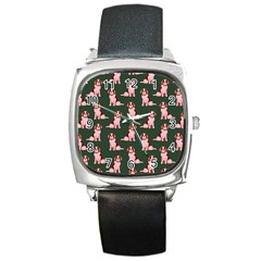 Dog Animal Pattern Square Metal Watch