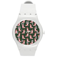 Dog Animal Pattern Round Plastic Sport Watch (m)