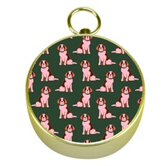 Dog Animal Pattern Gold Compasses