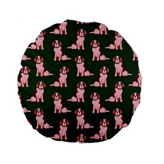 Dog Animal Pattern Standard 15  Premium Flano Round Cushions