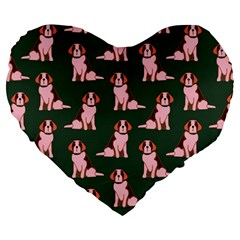Dog Animal Pattern Large 19  Premium Flano Heart Shape Cushions