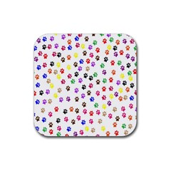 Paw Prints Background Rubber Coaster (Square)
