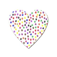 Paw Prints Background Heart Magnet