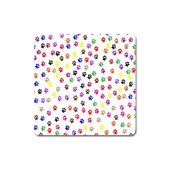 Paw Prints Background Square Magnet