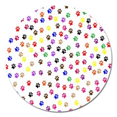 Paw Prints Background Magnet 5  (Round)