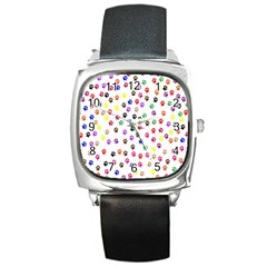 Paw Prints Background Square Metal Watch
