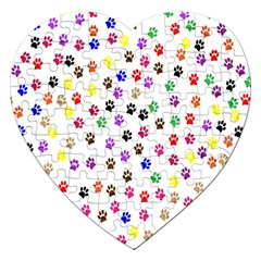 Paw Prints Background Jigsaw Puzzle (heart)