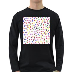 Paw Prints Background Long Sleeve Dark T-Shirts