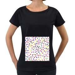Paw Prints Background Women s Loose Fit T Shirt (black)