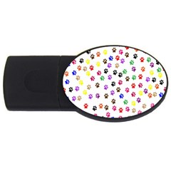 Paw Prints Background Usb Flash Drive Oval (4 Gb)