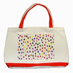Paw Prints Background Classic Tote Bag (red)