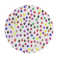 Paw Prints Background Round Ornament (two Sides)