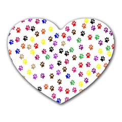 Paw Prints Background Heart Mousepads