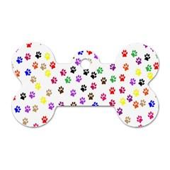 Paw Prints Background Dog Tag Bone (one Side)
