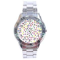Paw Prints Background Stainless Steel Analogue Watch