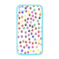 Paw Prints Background Apple Iphone 4 Case (color)