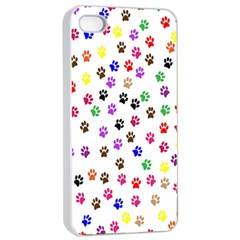 Paw Prints Background Apple Iphone 4/4s Seamless Case (white)