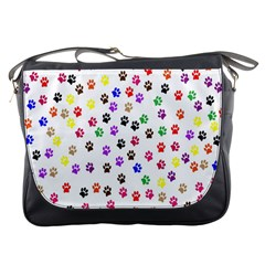 Paw Prints Background Messenger Bags