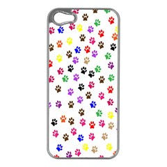 Paw Prints Background Apple Iphone 5 Case (silver)