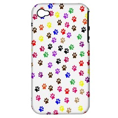 Paw Prints Background Apple Iphone 4/4s Hardshell Case (pc+silicone)