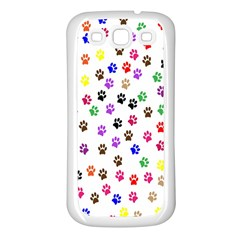 Paw Prints Background Samsung Galaxy S3 Back Case (White)