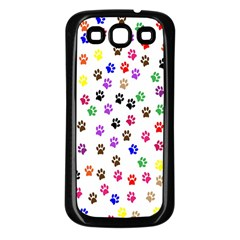 Paw Prints Background Samsung Galaxy S3 Back Case (Black)