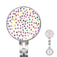 Paw Prints Background Stainless Steel Nurses Watch