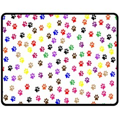 Paw Prints Background Double Sided Fleece Blanket (medium)