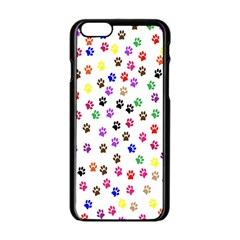 Paw Prints Background Apple Iphone 6/6s Black Enamel Case