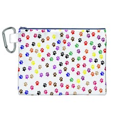 Paw Prints Background Canvas Cosmetic Bag (xl)