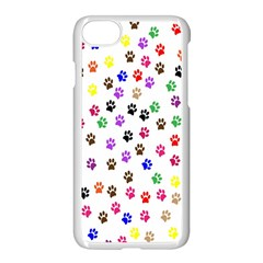 Paw Prints Background Apple Iphone 7 Seamless Case (white)