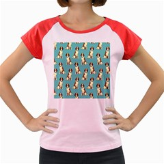 Dog Animal Pattern Women s Cap Sleeve T Shirt