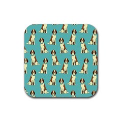 Dog Animal Pattern Rubber Square Coaster (4 Pack)