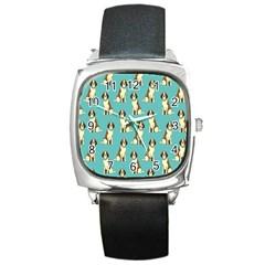Dog Animal Pattern Square Metal Watch