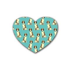 Dog Animal Pattern Heart Coaster (4 Pack)