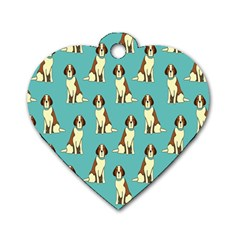 Dog Animal Pattern Dog Tag Heart (two Sides)