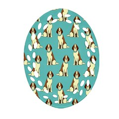 Dog Animal Pattern Oval Filigree Ornament (two Sides)