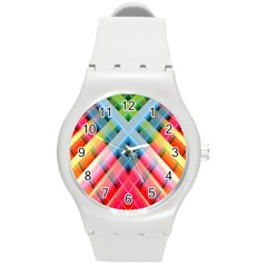 Graphics Colorful Colors Wallpaper Graphic Design Round Plastic Sport Watch (m)